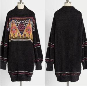 Modcloth Black Fuzzy Sweater Dress, Size S